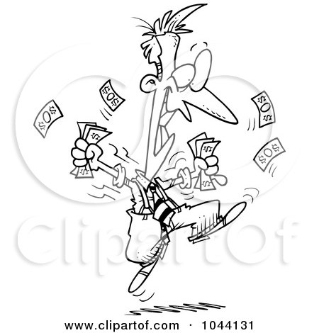 Royalty-Free (RF) Clip Art Illustration of a Cartoon Black And White Outline Design Of An Excited Businessman Holding Cash by toonaday