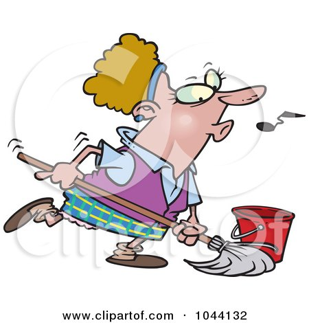 Royalty-Free (RF) Clip Art Illustration of a Cartoon Woman Whistling While Mopping by toonaday