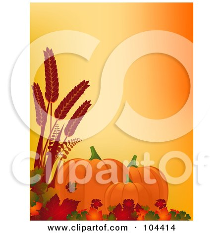 Royalty-Free (RF) Clipart Illustration of Autumn Pumpkins, Leaves And Wheat Over Orange by elaineitalia