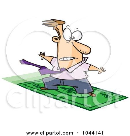 Royalty-Free (RF) Clip Art Illustration of a Cartoon Rich Businessman Surfing On A Dollar Bill by toonaday