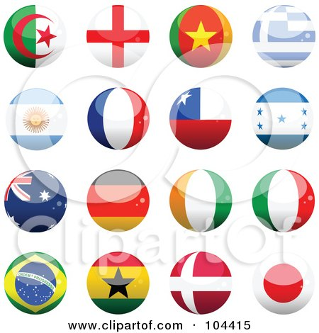 Royalty-Free (RF) Clipart Illustration of a Digital Collage Of 16 Shiny Soccer World Cup Orbs, Part 1 by elaineitalia