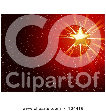 Royalty-Free (RF) Clipart Illustration of a Golden Star Shining Over A Sparkly Red Background by elaineitalia