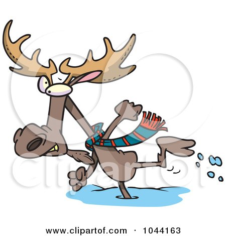 Royalty-Free (RF) Clip Art Illustration of a Cartoon Moose Running In The Snow by toonaday