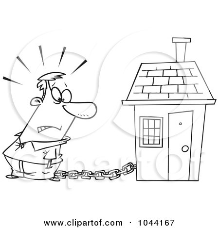Royalty-Free (RF) Clip Art Illustration of a Cartoon Black And White Outline Design Of A Man Tied To A House With A Mortgage Chain by toonaday