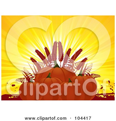 Royalty-Free (RF) Clipart Illustration of a Group Of Pumpkins And Wheat Against Sun Rays by elaineitalia