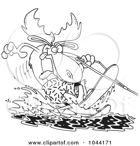 Royalty-Free (RF) Clip Art Illustration of a Cartoon Black And White Outline Design Of A Waterskiing Moose by toonaday