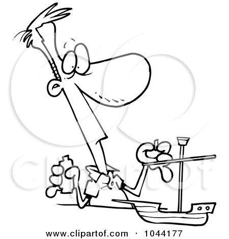 Royalty-Free (RF) Clip Art Illustration of a Cartoon Black And White Outline Design Of A Man Building A Model Boat by toonaday