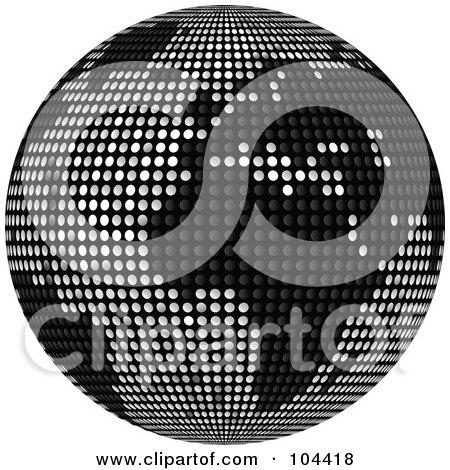 Royalty-Free (RF) Clipart Illustration of a Black Sparkly Disco Ball Globe by elaineitalia