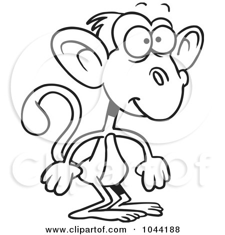 Cartoon black and white outline design of a standing monkey by ron