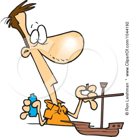 Royalty-Free (RF) Clip Art Illustration of a Cartoon Man Building A Model Boat by toonaday