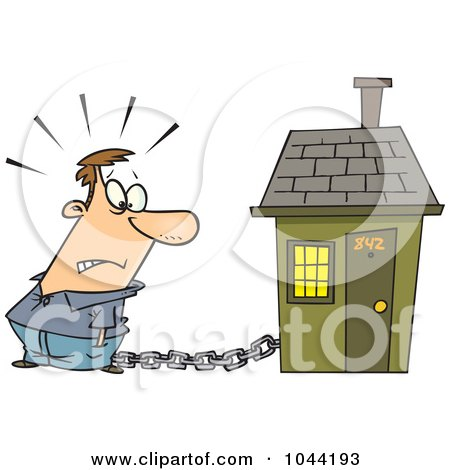 Royalty-Free (RF) Clip Art Illustration of a Cartoon Man Tied To A House With A Mortgage Chain by toonaday