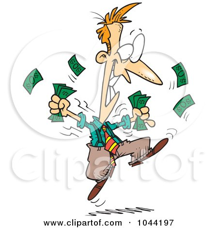 Royalty-Free (RF) Clip Art Illustration of a Cartoon Excited Businessman Holding Cash by toonaday