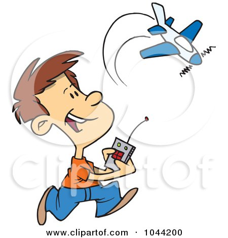 Royalty-Free (RF) Clip Art Illustration of a Cartoon Boy Playing With A Remote Control Airplane by toonaday