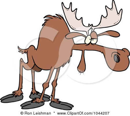 Royalty-Free (RF) Clip Art Illustration of a Cartoon Tired Moose by toonaday