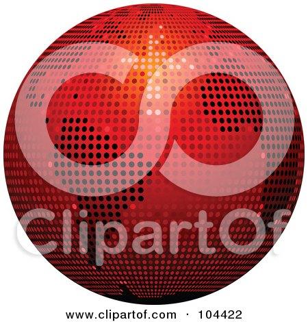 Royalty-Free (RF) Clipart Illustration of a Red Sparkly Disco Ball Globe by elaineitalia