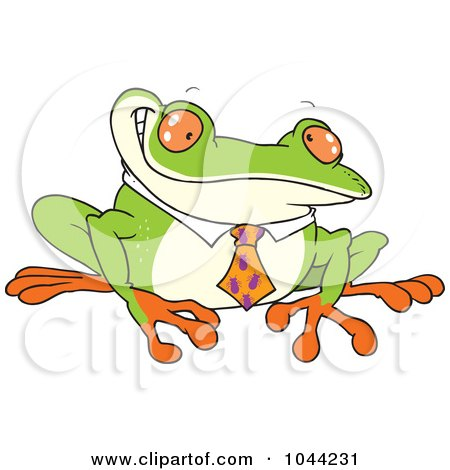 Royalty-Free (RF) Clip Art Illustration of a Cartoon Business Frog With An Ant Tie by toonaday