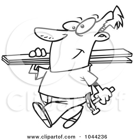 Royalty-Free (RF) Clip Art Illustration of a Cartoon Black And White Outline Design Of A Fencer Carrying Planks by toonaday