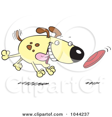Royalty-Free (RF) Clip Art Illustration of a Cartoon Dog Fetching A Disc by toonaday