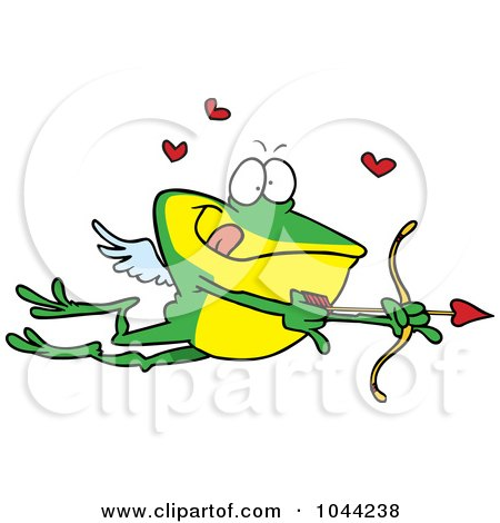 Royalty-Free (RF) Clip Art Illustration of a Cartoon Frog Cupid by toonaday