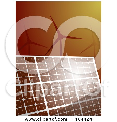 Royalty-Free (RF) Clipart Illustration of Sunshine Bouncing Off Of A Solar Panel, With Wind Turbines Over Brown by elaineitalia