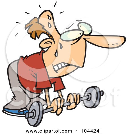 Royalty-Free (RF) Clip Art Illustration of a Cartoon Feeble Man Lifting A Barbell by toonaday