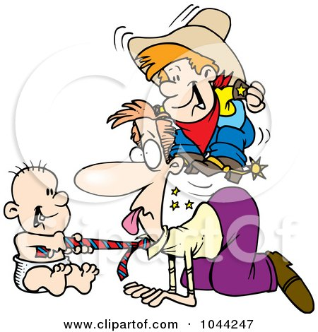 Royalty-Free (RF) Clip Art Illustration of Cartoon Boys Playing On The Floor With Their Dad by toonaday
