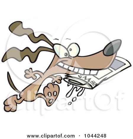 Royalty-Free (RF) Clip Art Illustration of a Cartoon Dog Fetching The Newspaper by toonaday