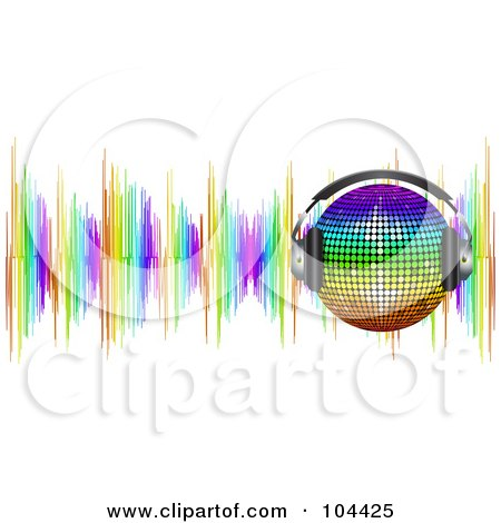 Royalty-Free (RF) Clipart Illustration of a Rainbow Disco Ball Wearing Headphones Over Colorful Sound Waves by elaineitalia