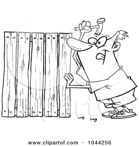 Royalty-Free (RF) Clip Art Illustration of a Cartoon Black And White Outline Design Of A Fencer Nailing Boards by toonaday