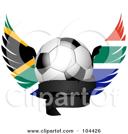 Royalty-Free (RF) Clipart Illustration of a Shiny Soccer Ball With South African Wings And A Black Banner by elaineitalia