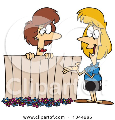 Royalty-Free (RF) Clip Art Illustration of Cartoon Lady Neighbors Chatting Over A Fence by toonaday