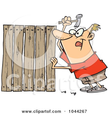 Royalty-Free (RF) Clip Art Illustration of a Cartoon Fencer Nailing Boards by toonaday