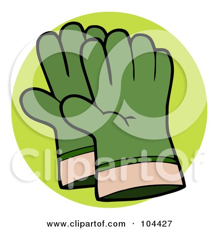 Royalty-Free (RF) Clipart Illustration of a Pair Of Green Gardeners Hand Gloves by Hit Toon