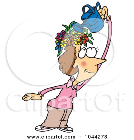 Royalty-Free (RF) Clip Art Illustration of a Cartoon Fertile Woman Watering The Flowers On Her Head by toonaday