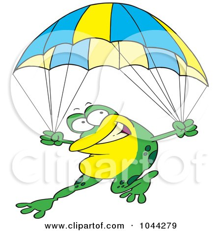 Royalty-Free (RF) Clip Art Illustration of a Cartoon Frog Parachuting by toonaday