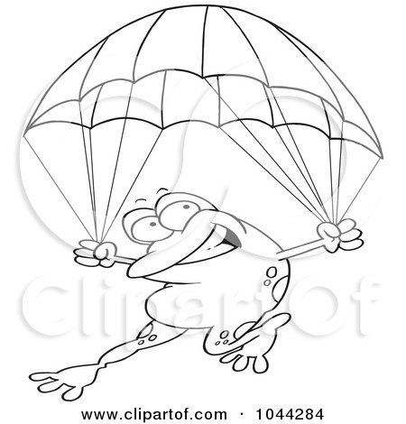 Royalty-Free (RF) Clip Art Illustration of a Cartoon Black And White Outline Design Of A Frog Parachuting by toonaday