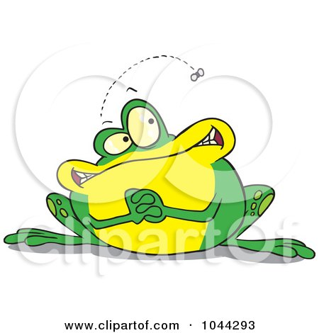 Royalty-Free (RF) Clip Art Illustration of a Cartoon Frog Waiting For A Fly by toonaday