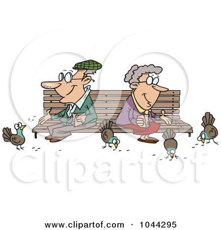 Cartoon Senior Couple Feeding Birds Posters, Art Prints