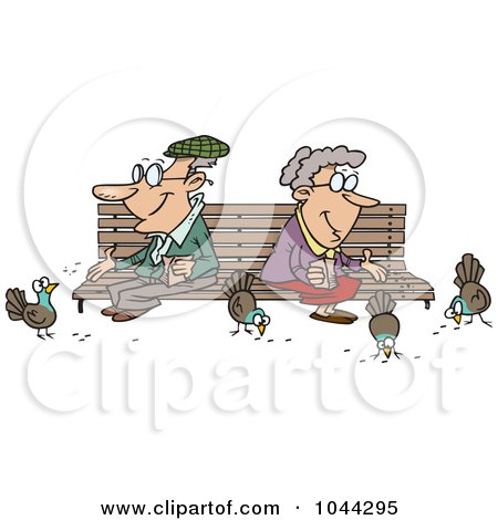 Royalty-Free (RF) Clip Art Illustration of a Cartoon Senior Couple Feeding Birds by toonaday