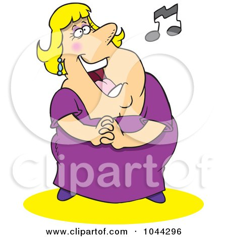 Royalty-Free (RF) Clip Art Illustration of a Cartoon Fat Lady Singing by toonaday