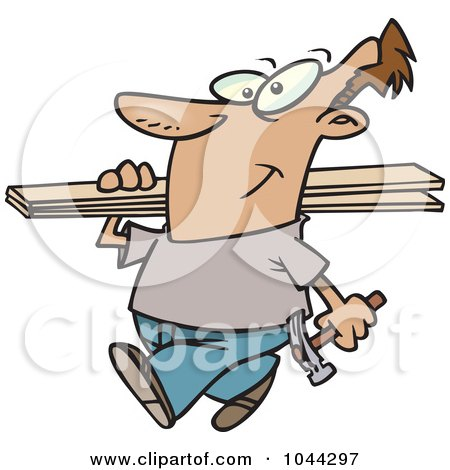 Royalty-Free (RF) Clip Art Illustration of a Cartoon Fencer Carrying Planks by toonaday