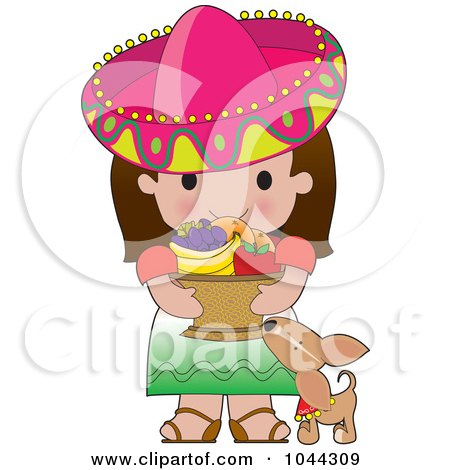 Royalty Free RF Clip Art Illustration Of A Chihuahua By A Cute Mexican Girl Carrying A Basket Of Fruit