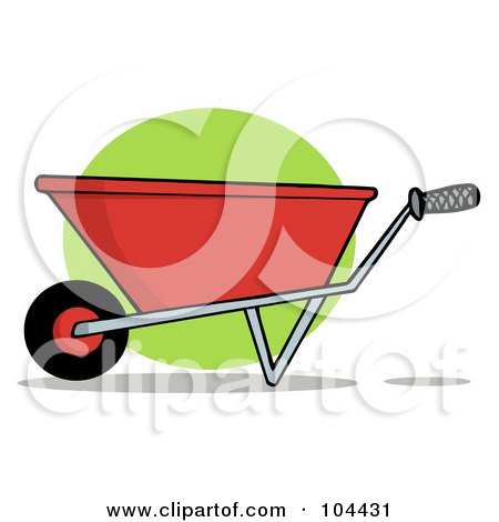 Royalty-Free (RF) Clipart Illustration of a Red Gardening Wheelbarrow by Hit Toon