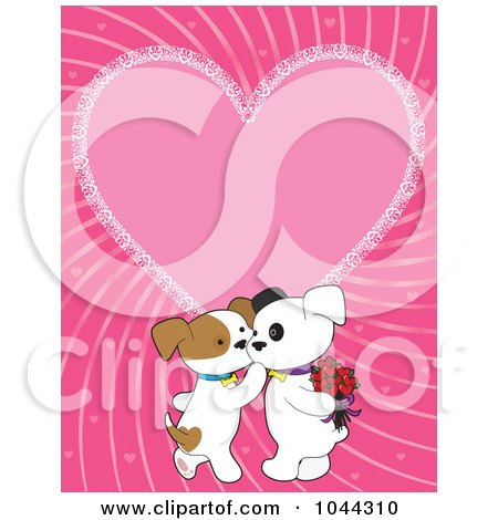 Royalty-Free (RF) Clip Art Illustration of Kissing Valentine Puppies Over A Pink Heart Background by Maria Bell