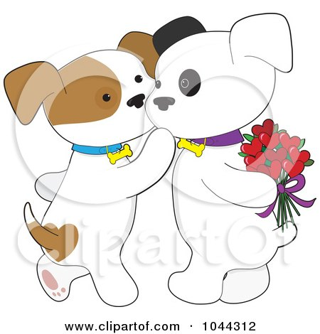 Royalty-Free (RF) Clip Art Illustration of a Sweet Puppy Kissing Her Boyfriend On The Cheek by Maria Bell
