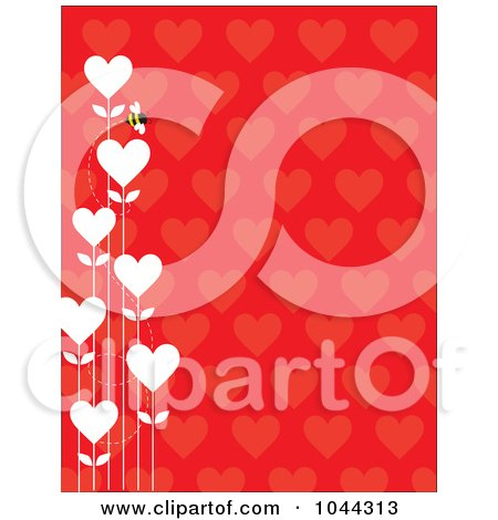 Royalty-Free (RF) Clip Art Illustration of a Bee With White Heart Flowers On A Red Heart Pattern Background by Maria Bell