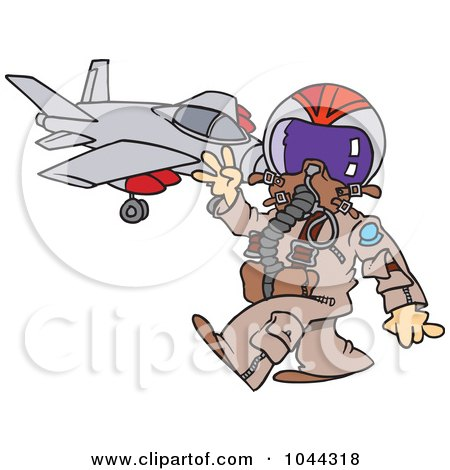 Royalty-Free (RF) Clip Art Illustration of a Cartoon Fighter Pilot Near His Jet by toonaday