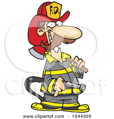 Royalty-Free (RF) Clip Art Illustration of a Cartoon Fire Fighter Carrying An Axe And Hose by toonaday
