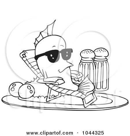 Royalty-Free (RF) Clip Art Illustration of a Cartoon Black And White Outline Design Of A Fish Relaxing On A Plate by toonaday