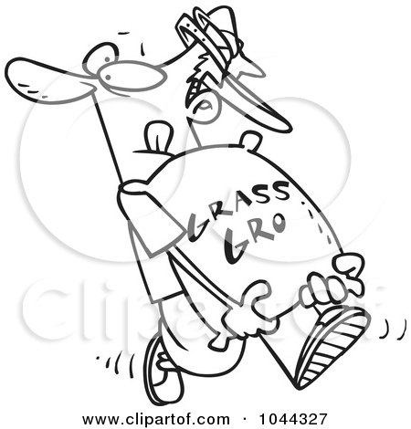 Royalty-Free (RF) Clip Art Illustration of a Cartoon Black And White Outline Design Of A Landscaper Carrying A Bag Of Fertilizer by toonaday